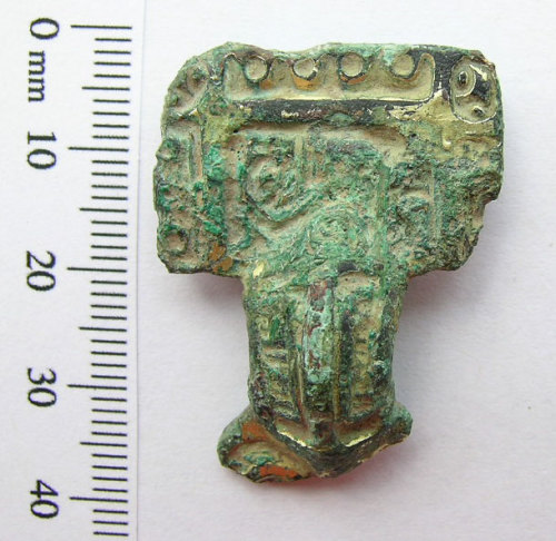 SWYOR-863735: Early Medieval square headed brooch with gilding