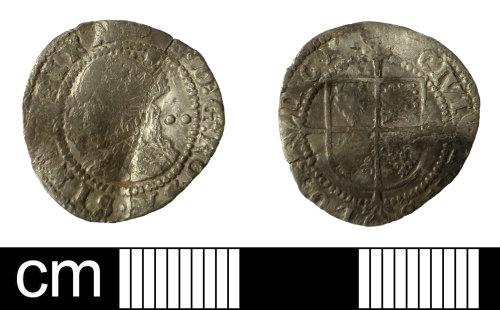 SOM-2E7814: Silver half groat of Elizabeth I