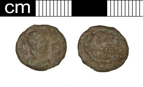 SOM-19F587: SOM-19F587: Roman coin: nummus of Gratian
