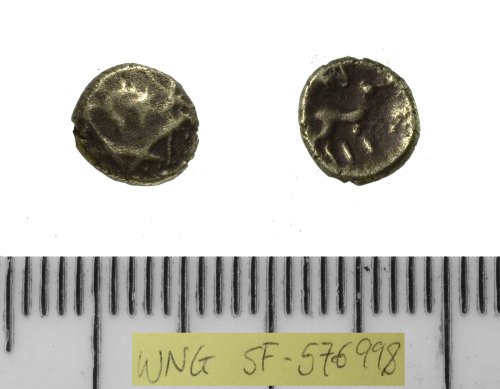 A resized image of SF-576998: Iron Age coin: contemporary copy of a Catuvellaunian minim of Epaticus