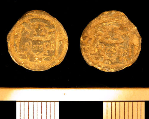 KENT-561BA6: KENT-561BA6. Post-Medieval lead cloth seal.