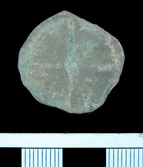 A resized image of KENT-957838.  Post medieval lead token.