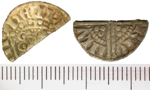 DENO-FCEA85: Medieval coin; cut long cross halfpenny of Henry III; London mint; moneyer Henri