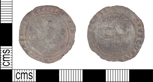 SUSS-B43E22: Post medieval sixpence of James I