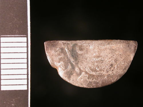 CORN-6DCCD1: Medieval coin: cut halfpenny of John (obverse)