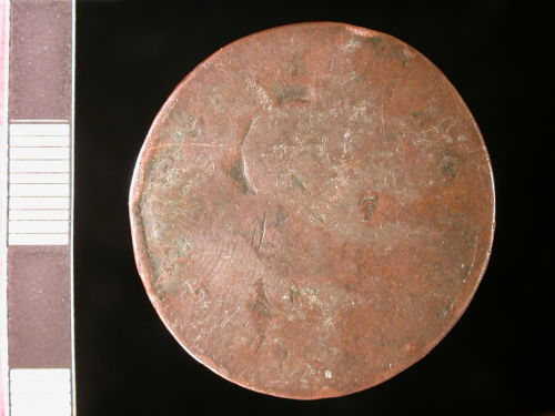 CORN-5055E0: Modern coin: halfpenny of George III counterstamped as transport token (obverse)