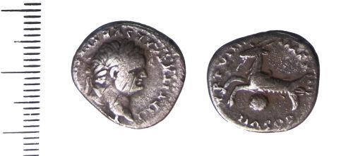 LIN-117E74: Silver Roman denarius of Titus