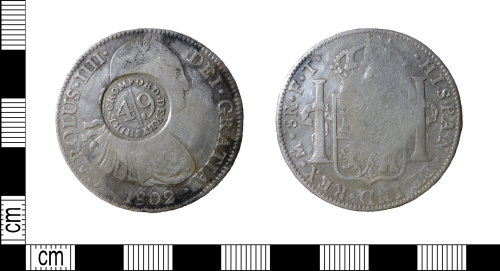 DENO-BBE206: Post-medieval coin hoard: Coin 1: Cromford dollar