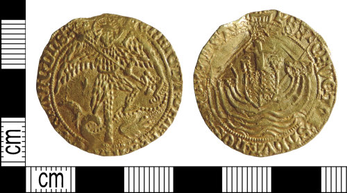 DENO-C5A99E: Medieval coin: angel of Henry VII