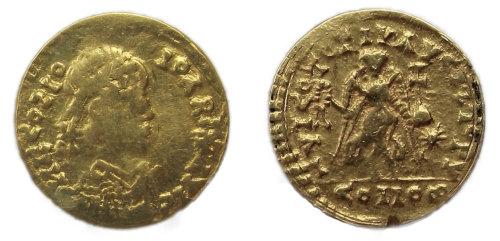 DENO-EBDD60: Roman coin: contemporary copy of a tremessis of Honorius or Theodosius