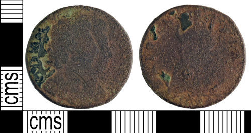 YORYM-A50113: Post-medieval Coin : Farthing of William III and Mary