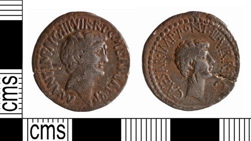 YORYM-4BBA0E: Roman Coin : Republican denarius issued by Mark Antony and Marcus Barbatius