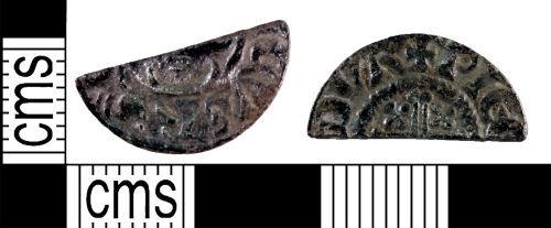 YORYM-F818B2: Medieval Coin : Cut halfpenny of John