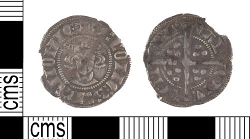YORYM-1E7E8A: Medieval Coin : Continental sterling imitation penny (known as a crockard) of John of Avesnes