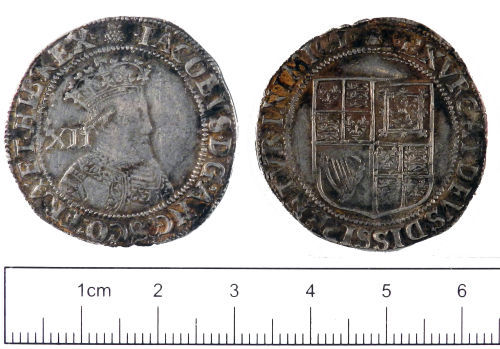 YORYM-94C116: Post-medieval Coin : Shilling of James I