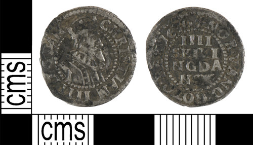 YORYM-96794D: Post-medieval Coin : 4 skilling of Christian IV of Denmark