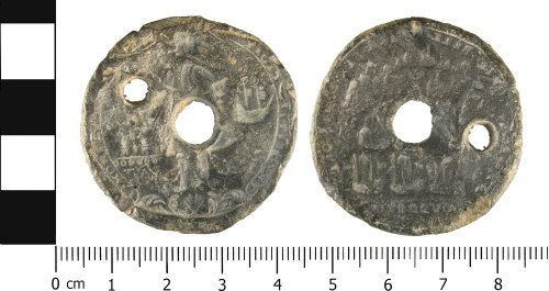 WMID-9A997F: Possible lead token of Post Medieval date.