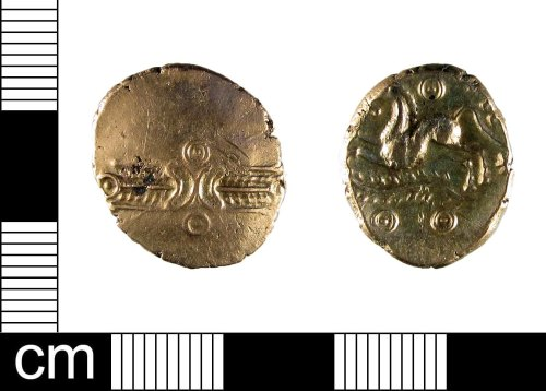 ESS-FBFF63: An Iron Age gold stater of Dubnovellaunos, dating to the 1st century BC.