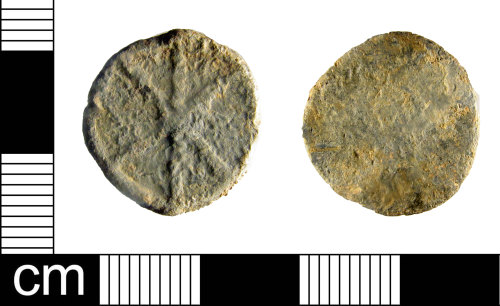 A resized image of Lead token, dating to Medieval - Post Medieval period.