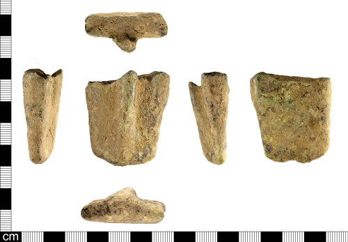 A resized image of An incomplete Medieval to Post Medieval copper alloy vessel foot, dating AD 1350-1650.