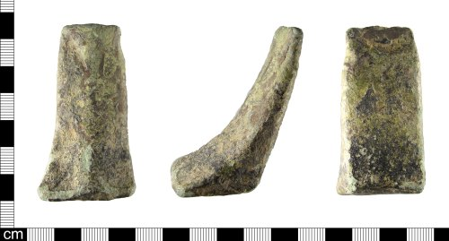 A resized image of A Medieval to Post Medieval copper alloy vessel foot, dating AD 1200-1600.