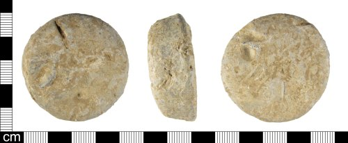 ESS-6F592D: A Medieval lead alloy weight, probably dating 13th-15th century.