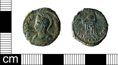 ESS-7AD81C: A Roman copper alloy nummus of Crispus as Caesar (AD 317-340), dating AD 321.
