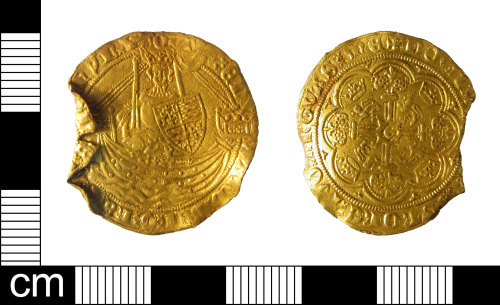 ESS-7EF877: A gold half noble of Edward III (AD1327-1377), dating AD 1361-69.s