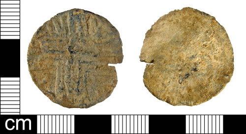 A resized image of A Post Medieval lead alloy uniface token, dating to the 17th-18th century.