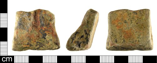 A resized image of An incomplete Medieval to Post Medieval copper alloy vessel foot, dating AD 1200-1600.