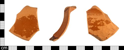 ESS-D9B64B: A fragment of a Roman samian ware vessel, probably a bowl, dating 1st-2nd century AD.