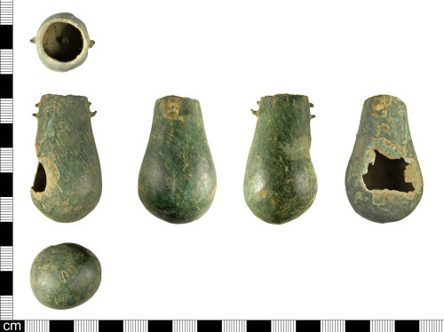 A resized image of An incomplete Medieval copper alloy flask, dating AD 1100-1400.