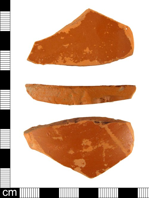 A resized image of Body fragment of a Roman samian ware vessel, dating AD 100-150.