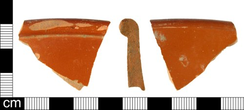 A resized image of Rim fragment of a Roman samian ware vessel, dating AD 100-150.