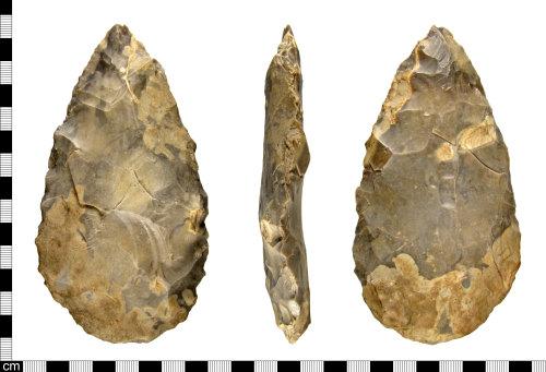 ESS-88730B: A Palaeolithic flint handaxe, dating 800,000-250,000 BC.
