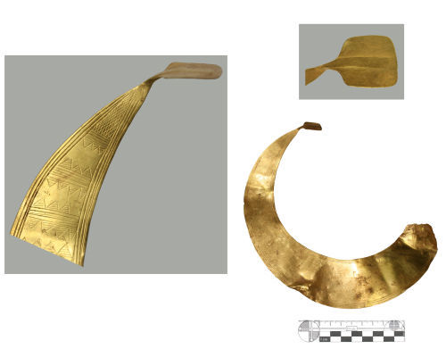 A resized image of Early Bronze Age gold lunula composite with detail