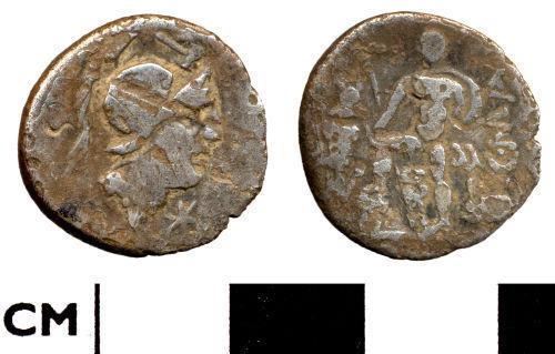 DOR-8238A7: Roman coin: Republican denarius of moneyer C Publicus Malleolus