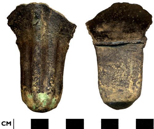 DOR-A93421: Medieval to Post Medieval copper alloy vessel leg