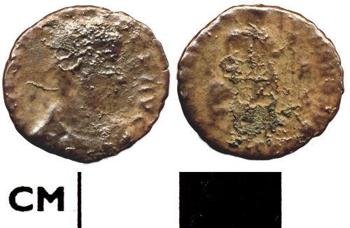 DOR-E1DE13: E1DE13. Roman coin: Nummus of Valens
