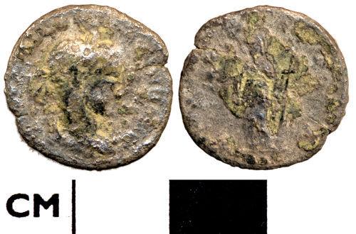 DOR-F0CF71: F0CF71. Roman coin: Denarius, probably of Severus Alexander