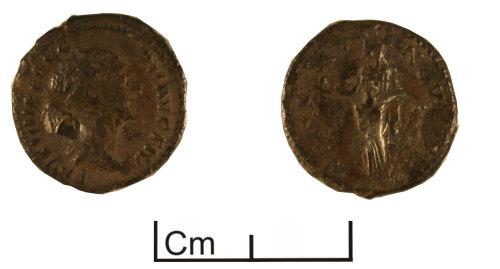 PUBLIC-F1CC81: SURREY F1CC81 - Roman coin: Denarius probably a contemporary copy of Faustina II under Antoninus Pius