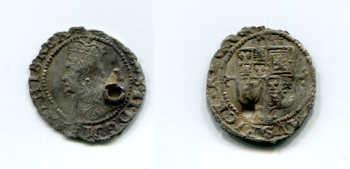 NLM-EAAD92: Treasure case 2010 T636, pierced silver coin of Charles II from Binbrook, Lincolnshire