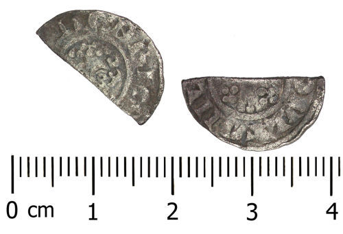 DENO-EE6812: Medieval Coin: Short Cross Cut Halfpenny
