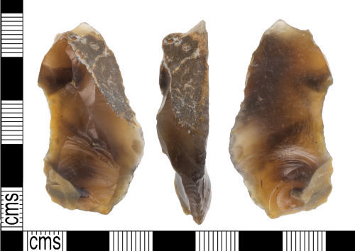 KENT-6FFB7D: A knapped flint end scraper of probable Neolithic or Early Bronze Age date (c. 4000-1000 BC).