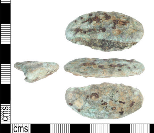 KENT-EFC95E: Late Bronze Age socketed axe cutting-edge fragment.