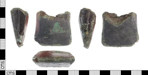 KENT-ECBAFE: KENT-ECBAFE - A blade fragment of a Late Bronze Age (1150 - 800 BC) copper alloy socketed axehead.