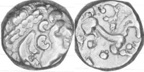 A resized image of An Iron Age Gold quarter stater from NULL NULL Celtic Coin Index reference:  98.1292