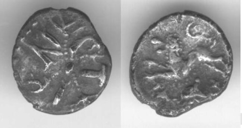 CCI-01719: An Iron Age Unit from NULL of Tincomarus Atrebates Celtic Coin Index reference:  0.1719