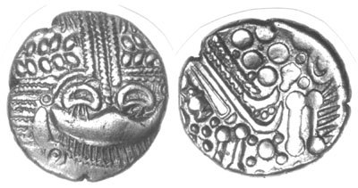 CCI-11462: An Iron Age Gold stater from HAMPSHIRE Durotriges Celtic Coin Index reference:  1.1462
