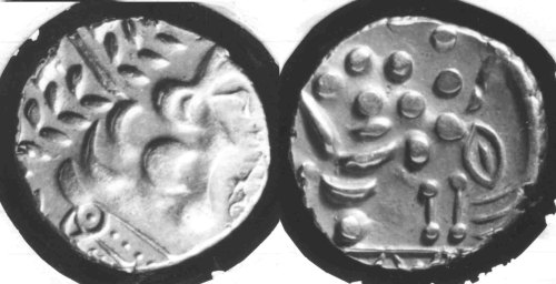 CCI-680761: An Iron Age Gold stater from HAMPSHIRE Atrebates Celtic Coin Index reference:  68.0761